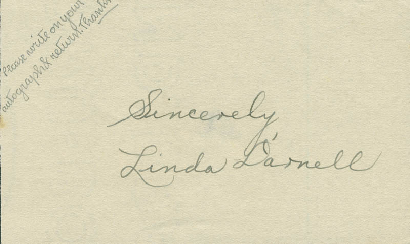 Image 1 for Linda Darnell - Autograph Sentiment Signed - HFSID 290703