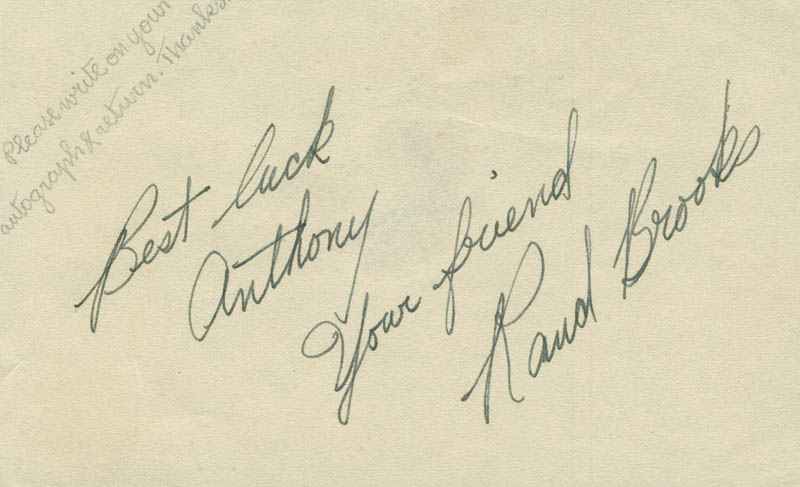 Image 1 for Rand Brooks - Autograph Note Signed - HFSID 290746