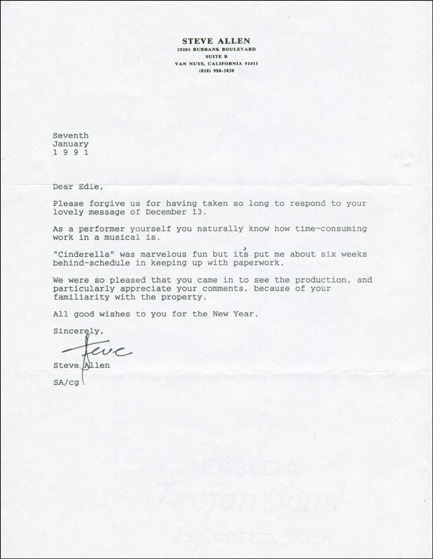 Image 1 for Steve Allen - Typed Letter Signed 01/17/1991 - HFSID 290766