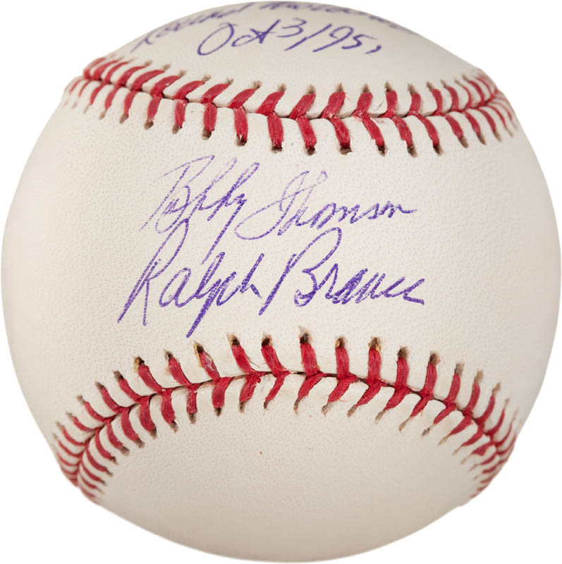 Image 1 for Bobby Thomson - Annotated Baseball Signed co-signed by: Ralph 'Hawk' Branca - HFSID 290991
