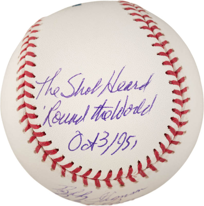Image 3 for Bobby Thomson - Annotated Baseball Signed co-signed by: Ralph 'Hawk' Branca - HFSID 290991