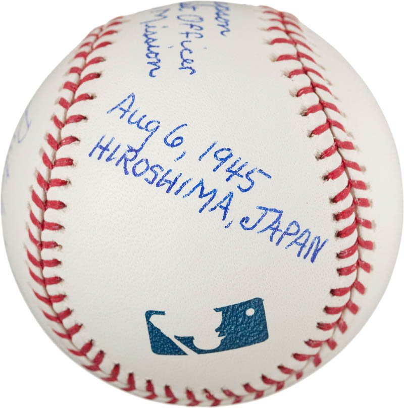 Image 4 for Enola Gay Crew (Theodore Van Kirk) - Autographed Signed Baseball co-signed by: Enola Gay Crew (Morris Jeppson) - HFSID 291037