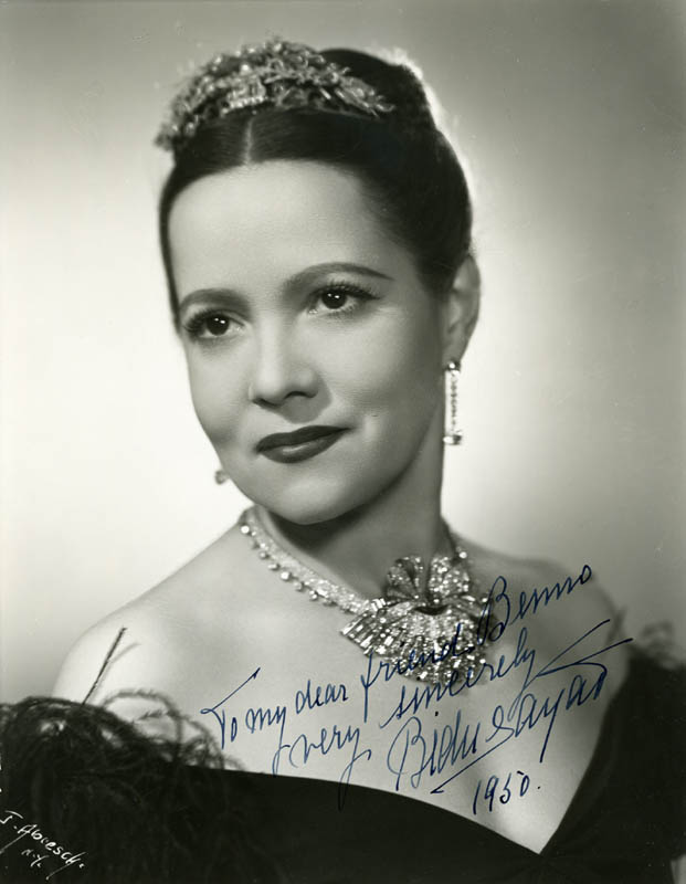 Image 1 for Bidu Sayao - Autographed Inscribed Photograph 1950 - HFSID 29132