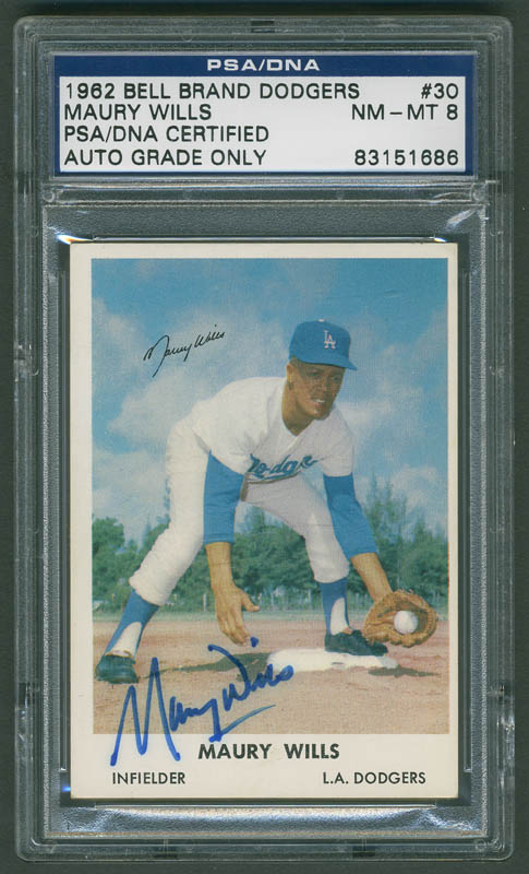 """MAURY WILLS AUTOGRAPH ON 8/"""" X 10/"""" COLOR PHOTO IN BLUE INK WITH PSA//DNA COA"""