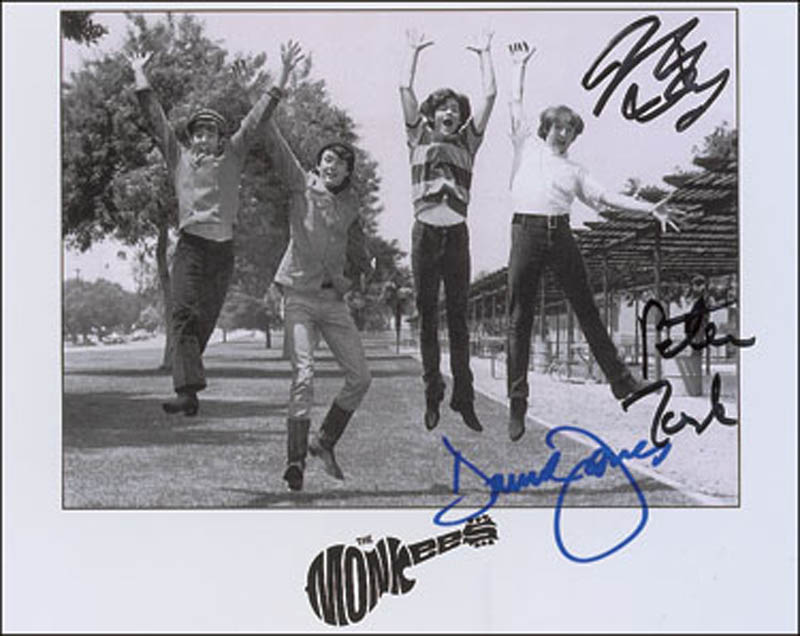 Image 1 for The Monkees - Autographed Signed Photograph co-signed by: The Monkees (Davy Jones), The Monkees (Mickey Dolenz), The Monkees (Peter Tork) - HFSID 291363