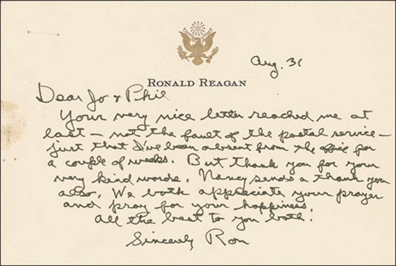 Image 1 for President Ronald Reagan - Autograph Letter Signed 08/31 - HFSID 291376