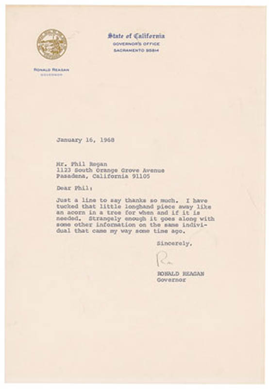 Image 1 for President Ronald Reagan - Typed Letter Signed 01/16/1968 - HFSID 291377