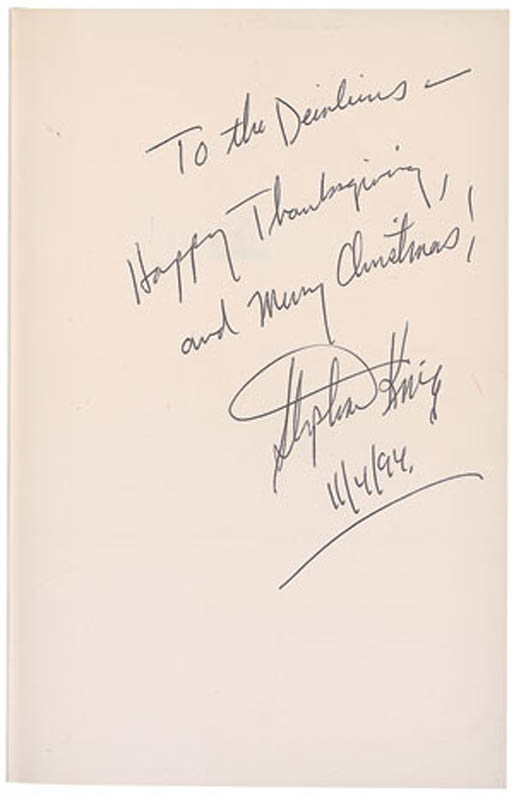 Image 1 for Stephen King - Inscribed Book Signed 11/04/1994 - HFSID 291383