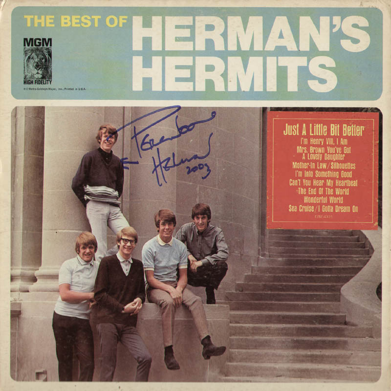 Image 1 for Herman'S Hermits (Peter Noone) - Record Album Cover Signed 2003 - HFSID 291483