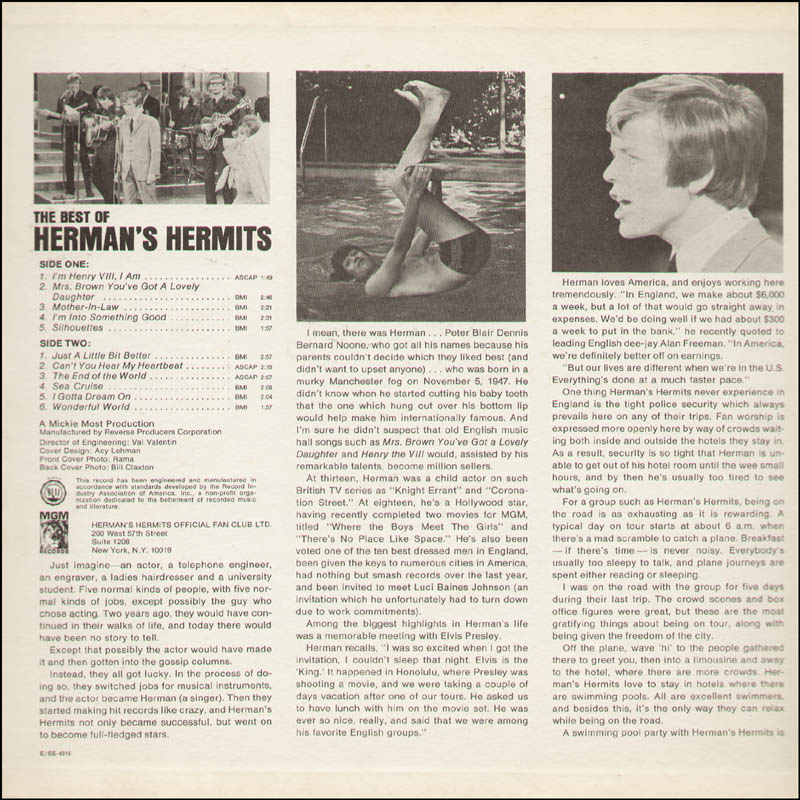 Image 4 for Herman'S Hermits (Peter Noone) - Record Album Cover Signed 2003 - HFSID 291483