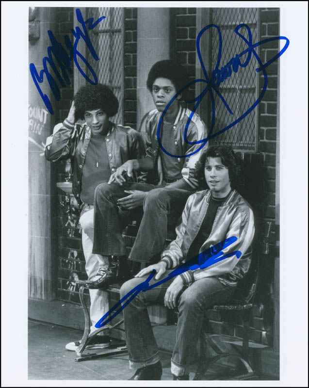 Image 1 for Welcome Back, Kotter TV Cast - Autographed Signed Photograph co-signed by: Robert Hegyes, John Travolta, Lawrence Hilton-jacobs - HFSID 291558
