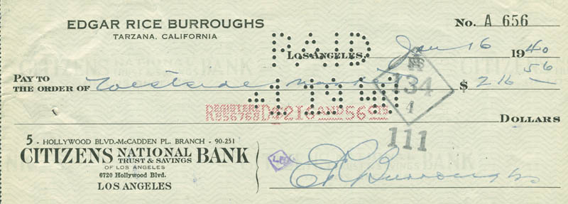 Image 1 for Edgar Rice Burroughs - Autographed Signed Check 01/16/1940 - HFSID 291575