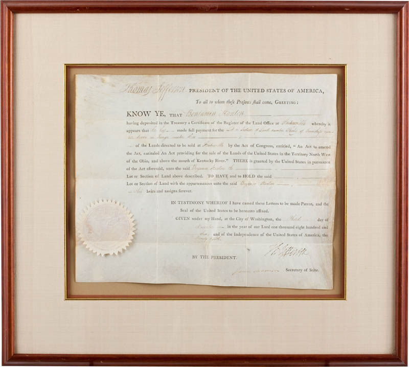 Image 1 for President Thomas Jefferson - Land Grant Signed 11/03/1803 co-signed by: President James Madison - HFSID 291588