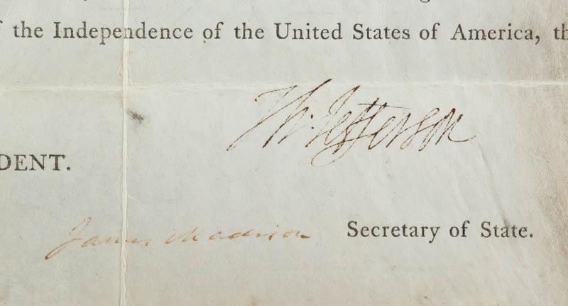 Image 4 for President Thomas Jefferson - Land Grant Signed 11/03/1803 co-signed by: President James Madison - HFSID 291588