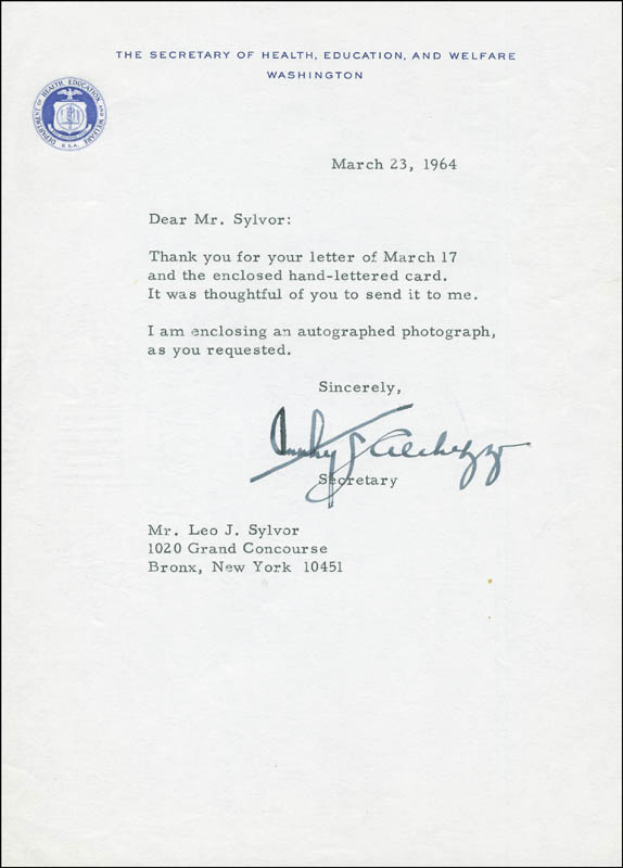 Image 1 for Anthony J. Celebrezze - Typed Letter Signed 03/23/1964 - HFSID 291592
