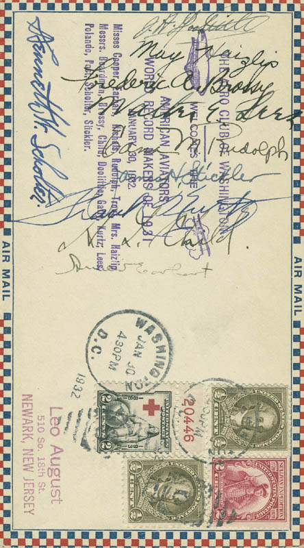 Image 1 for Amelia M. Earhart - Commemorative Envelope Signed Circa 1932 with co-signers - HFSID 291604