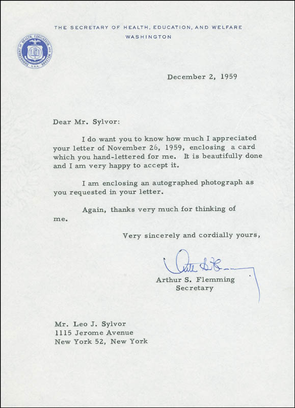 Image 1 for Arthur S. Flemming - Typed Letter Signed 12/02/1959 - HFSID 291642