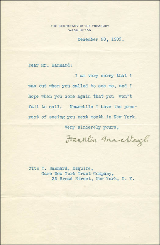 Image 1 for Franklin Macveagh - Autograph Letter Signed 12/20/1909 - HFSID 291671
