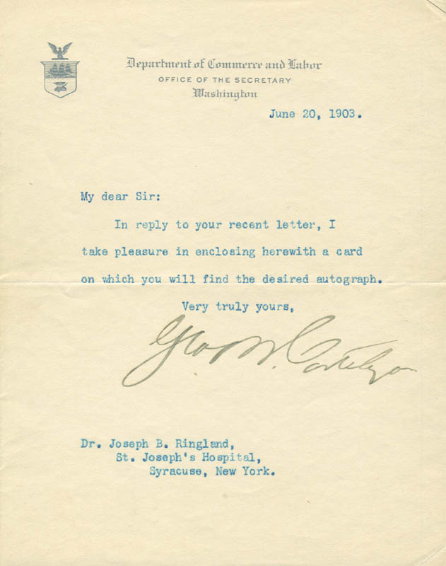 Image 1 for George B. Cortelyou - Typed Letter Signed 06/20/1903 - HFSID 291705