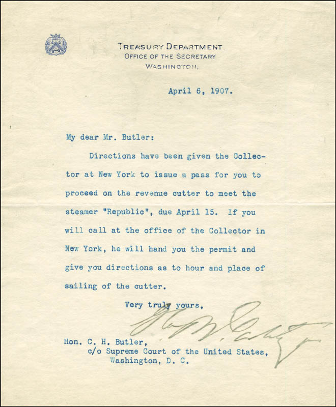 Image 1 for George B. Cortelyou - Typed Letter Signed 04/06/1907 - HFSID 291706