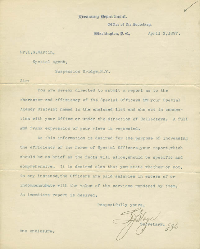 Image 1 for Lyman J. Gage - Typed Letter Signed 04/02/1897 - HFSID 291716