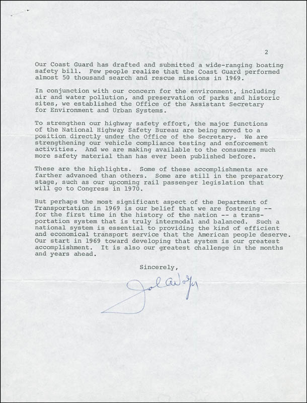 Image 1 for John A. Volpe - Typed Letter Signed 01/08/1970 - HFSID 291735