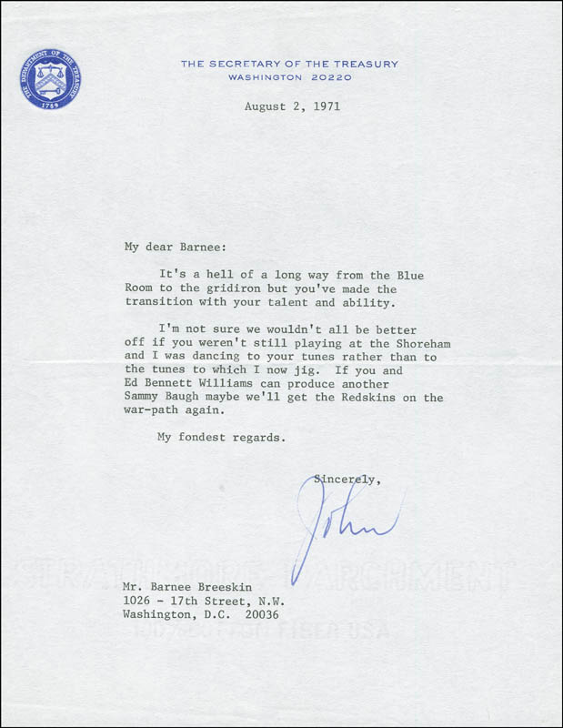 Image 1 for John B. Connally Jr. - Typed Letter Signed 08/02/1971 - HFSID 291741