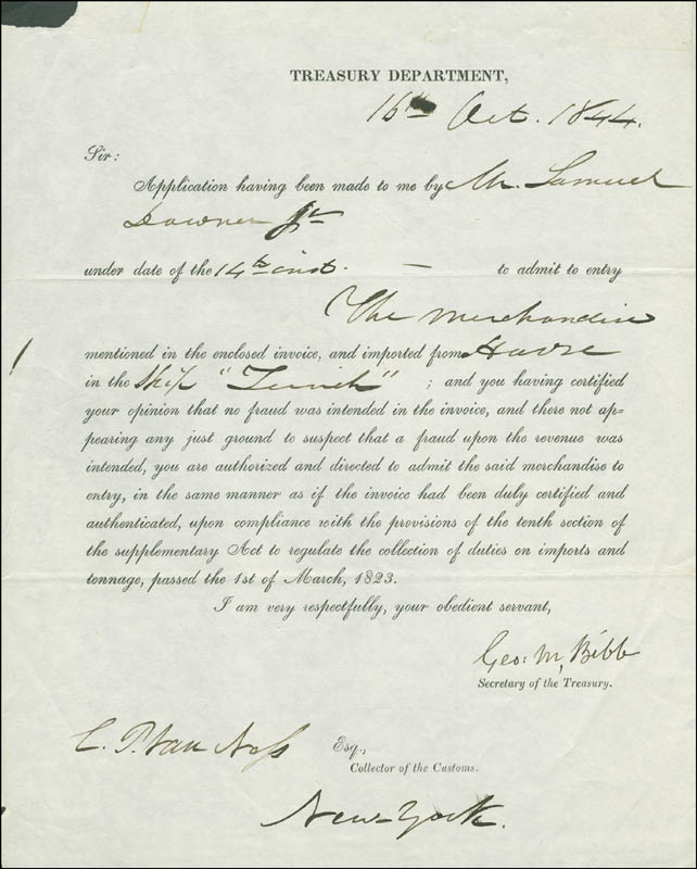 Image 1 for George M. Bibb - Document Signed 10/16/1844 co-signed by: Cornelius P. Van Ness - HFSID 291752