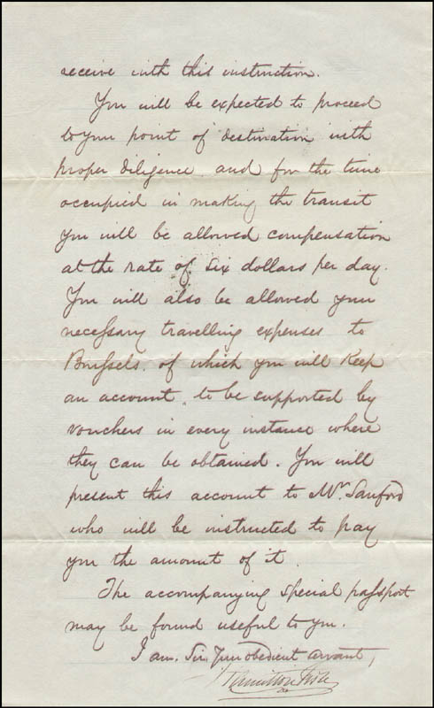 Image 1 for Hamilton Fish - Manuscript Letter Signed 05/15/1869 - HFSID 291764