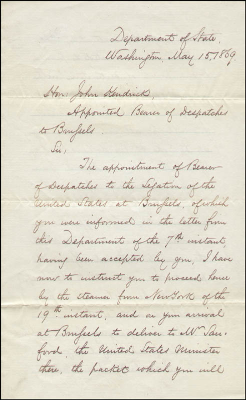 Image 3 for Hamilton Fish - Manuscript Letter Signed 05/15/1869 - HFSID 291764