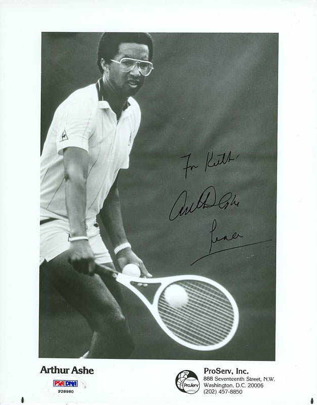 Image 1 for Arthur Ashe - Inscribed Printed Photograph Signed In Ink - HFSID 291843