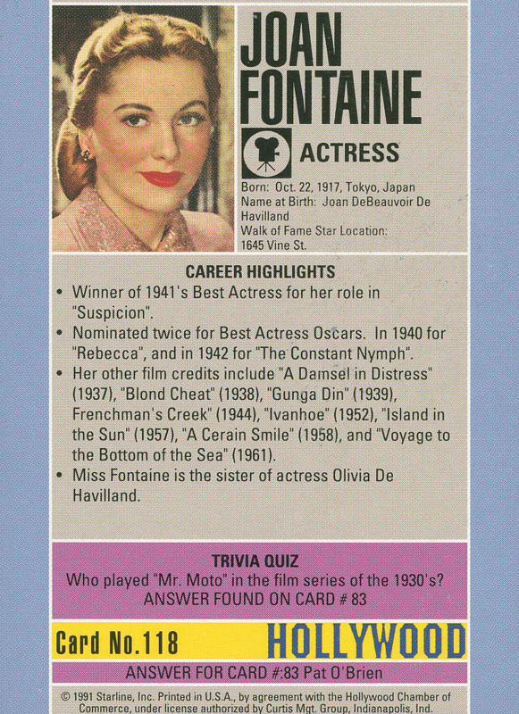 Image 3 for Joan Fontaine - Trading/Sports Card Signed - HFSID 291982