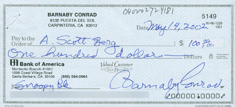 Image 1 for Barnaby Conrad - Check Signed & Endorsed 05/14/2002 co-signed by: Andrew Scott Berg - HFSID 292003
