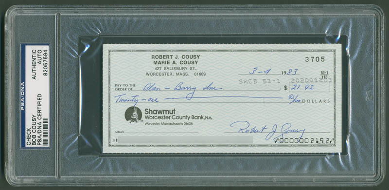 Image 1 for Bob Cousy - Autographed Signed Check 03/04/1983 - HFSID 292023