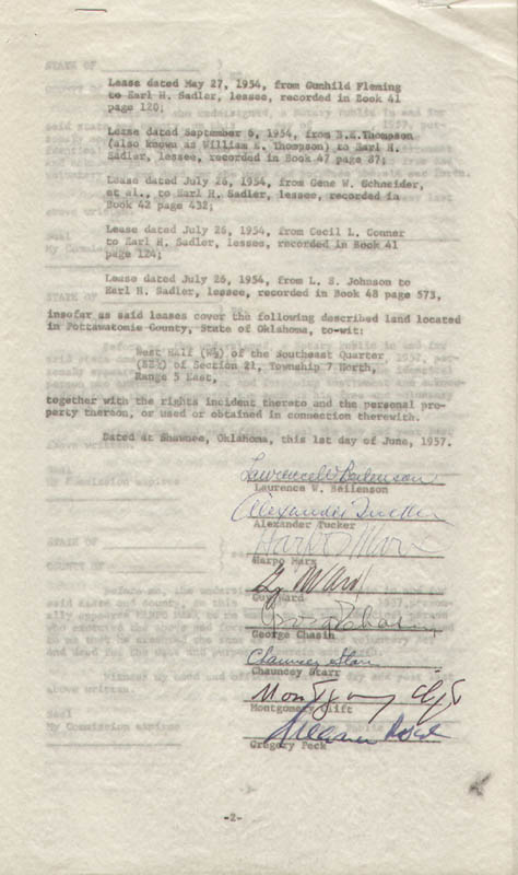 Image 1 for Montgomery Clift - Document Signed 06/01/1957 with co-signers - HFSID 292085