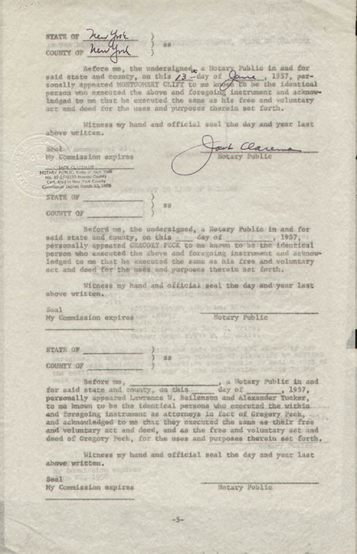 Image 7 for Montgomery Clift - Document Signed 06/01/1957 with co-signers - HFSID 292085