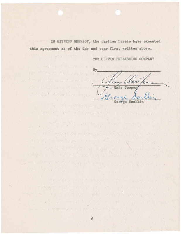 Image 3 for Gary Cooper - Document Signed 03/07/1955 co-signed by: George Scullin - HFSID 292086