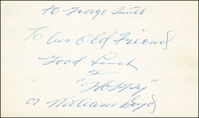 Image 1 for William 'Hoppy' Boyd - Autograph Note Signed - HFSID 292100