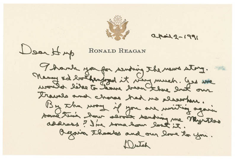 Image 1 for President Ronald Reagan - Autograph Letter Signed 04/02/1991 - HFSID 292104