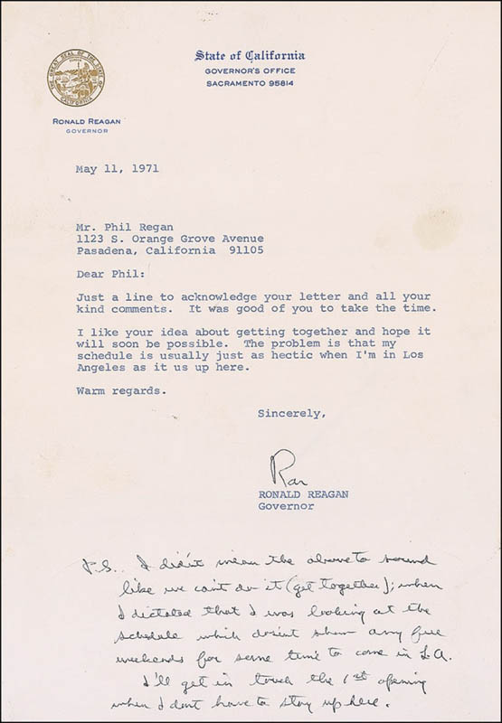 Image 1 for President Ronald Reagan - Typed Letter Signed 05/11/1971 - HFSID 292131