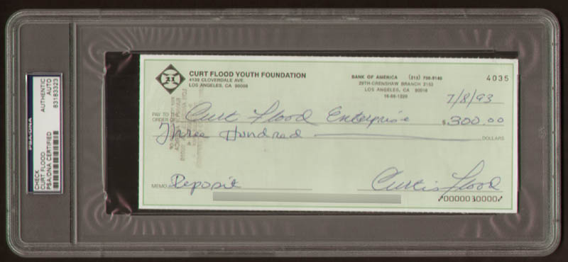 Image 1 for Curt Flood - Check Triple Signed 07/08/1993 - HFSID 292226