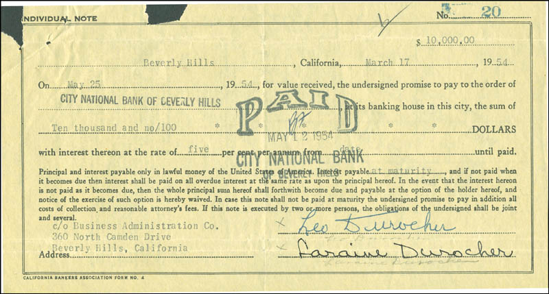 Image 1 for Leo Durocher - Promissory Note Signed 03/17/1954 co-signed by: Laraine Day - HFSID 292302