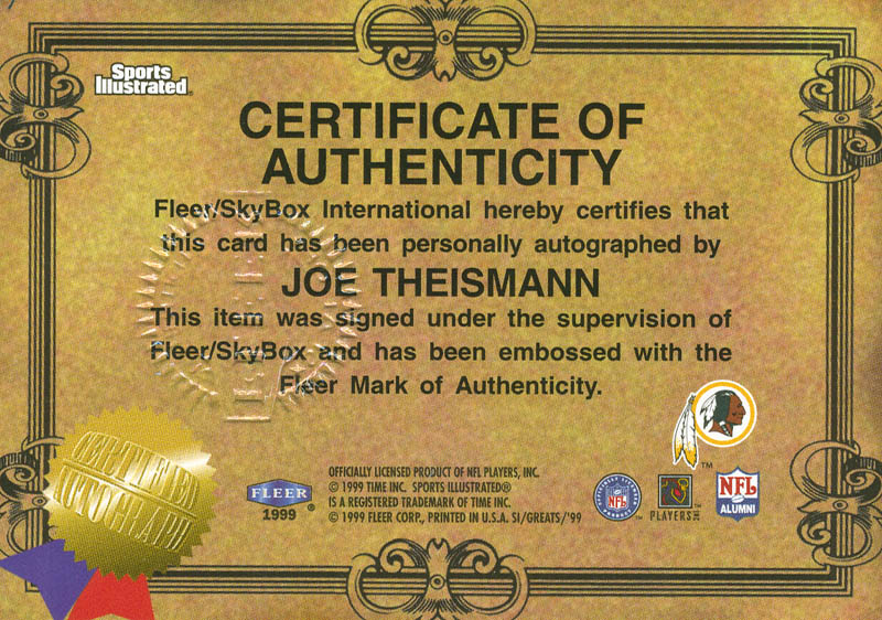 Image 3 for Joe Theismann - Trading/Sports Card Signed - HFSID 292371