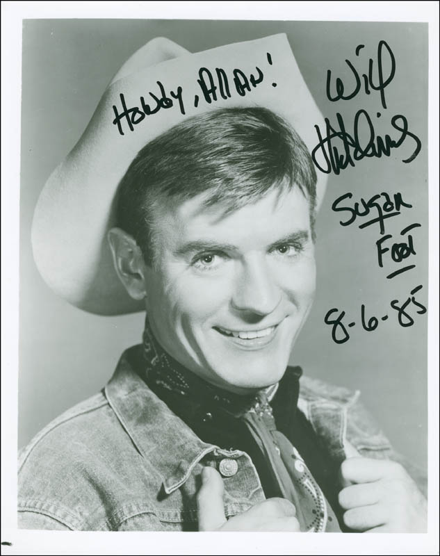 Image 1 for Will 'Sugarfoot' Hutchins - Autographed Inscribed Photograph 08/06/1985 - HFSID 292433