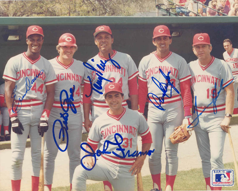Image 1 for Cincinnati Reds - Autographed Signed Photograph co-signed by: Eric Davis, John Franco, Dave Concepcion, Tony Perez, Pete Rose, Tommy Helms - HFSID 292679