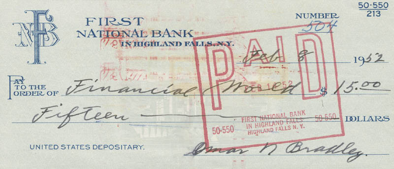 Image 1 for General Omar N. Bradley - Autographed Signed Check 02/08/1952 - HFSID 292686