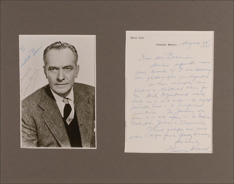 Image 1 for Fredric March - Autograph Letter Signed 08/25/1965 - HFSID 292749