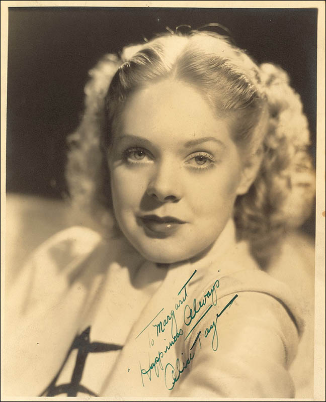 Image 1 for Alice Faye - Autographed Inscribed Photograph - HFSID 292781