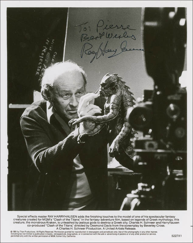 Image 1 for Ray Harryhausen - Inscribed Printed Photograph Signed In Ink - HFSID 292834