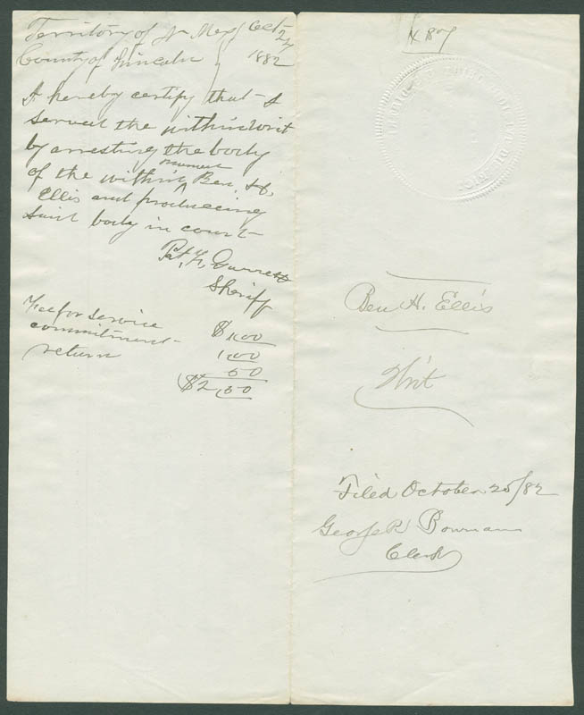 Image 1 for Patrick F. 'Big Casino' Garrett - Document Signed 10/24/1882 co-signed by: Simon B. Newcomb - HFSID 292978